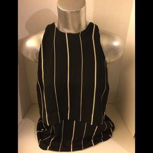 Atmosphere Black/Beige stripe sleeveless Top